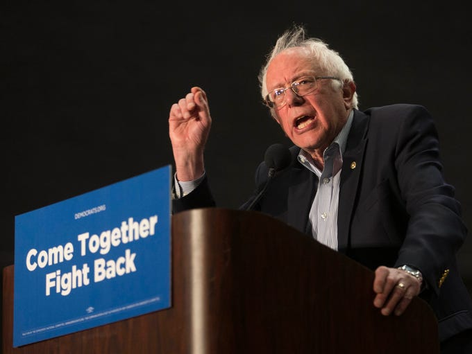 Sen. Bernie Sanders speaks to a crowd of 3,800 during