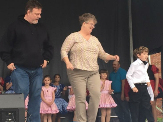 Pictured dancing are Terry Yates, Sarah Fennell and her son Jacob.