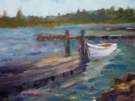 """Fish Creek Dinghy,"" oil painting by Joseph Schulte, part of the ""Directions - Artists""exhibit at Meadows Art Gallery."