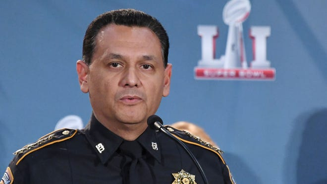 Harris County Sheriff officer Ed Gonzalez speaks during the Super Bowl LI security press conference at the Media Center.