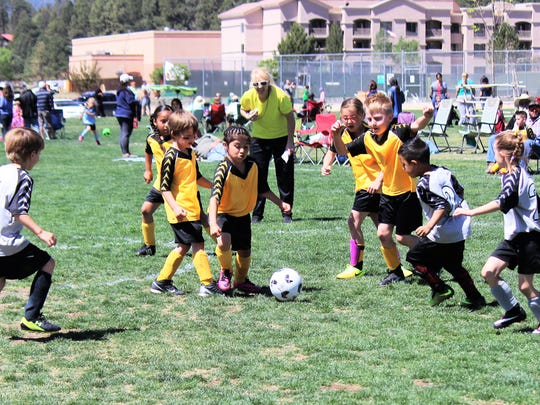 Two Lincoln County Youth Soccer teams competed during a game at the Soccer Field on Hull Road May 12.