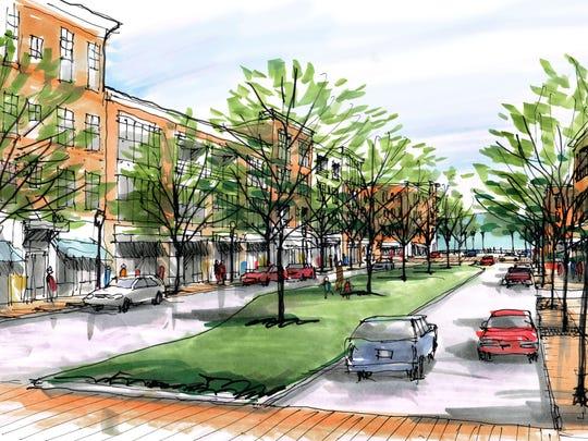 An idea for Clinton's Kincaid Street includes a walkway
