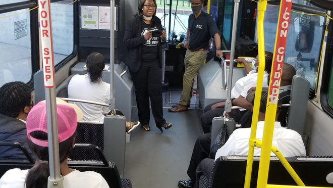 "New Chatham Area Transit CEO/Executive Director Bacarra Sanderson Mauldin (center, left) speaks to trainees alongside Chatham County Commissioner and CAT Board Member James ""Jay"" Jones."