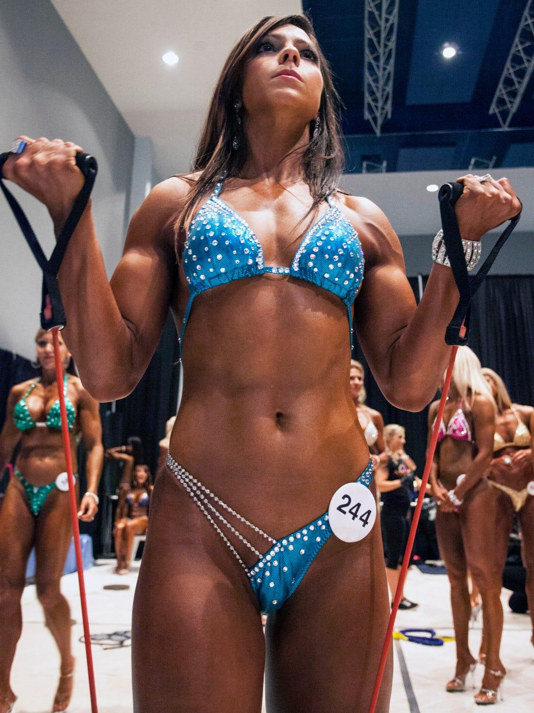 Shaina Gonzalez prepares for a stage entrance.