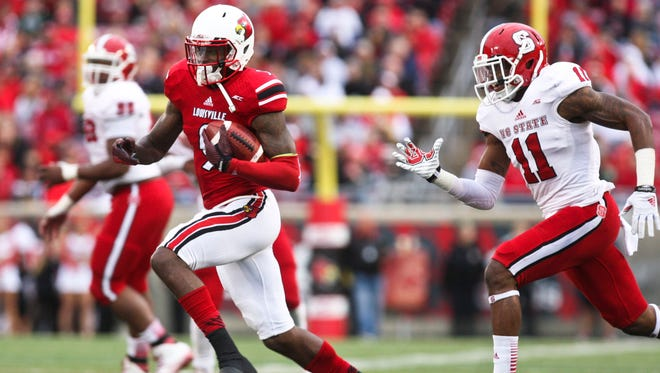 Louisville's DeVante Parker had nine receptions for 132 yards against NC State Saturday. Oct. 18, 2014