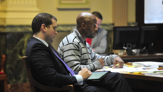 Jason Westerfield, right, sits with his attorney, Adam Stone, on Thursday during his trial.