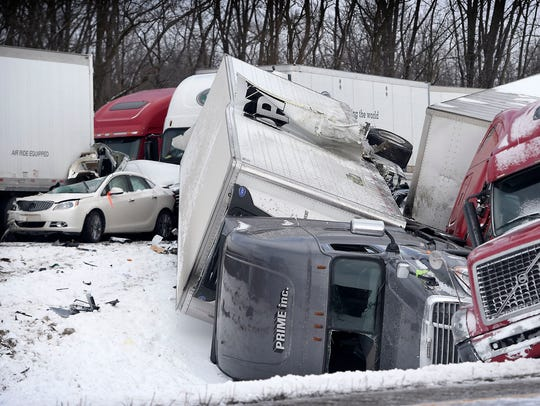 Visibility may have been a factor in a pile up accident