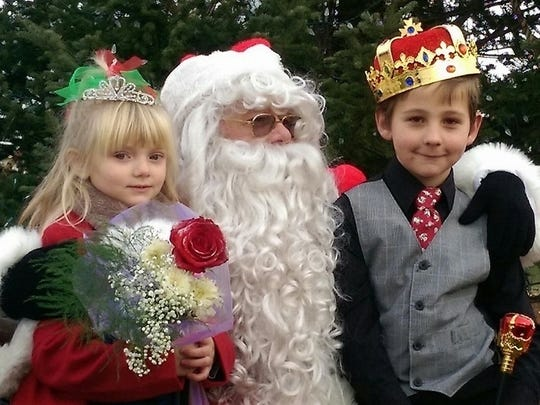 Harper Abel, left, and Connor Black, right, were named Christmas Princess and Prince during the second Christmas in the Center: A Pittsville Community Celebration in 2015.