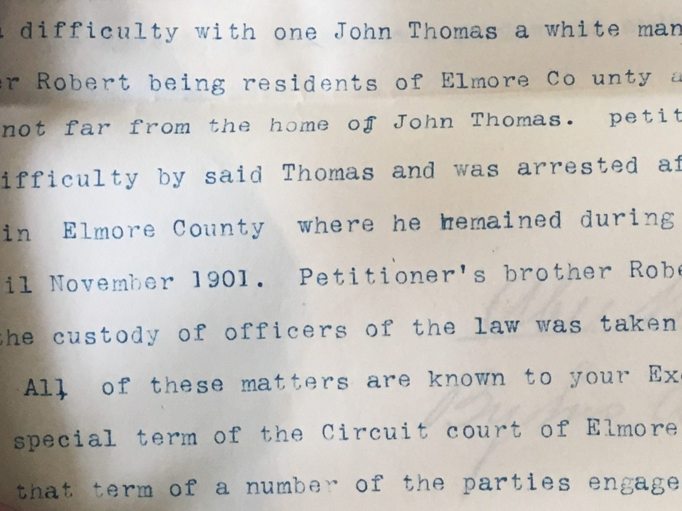 "A portion of a letter dictated by Abe White in early 1902, indicating ""a difficulty with one John Thomas"" led to the lynching of his brother"