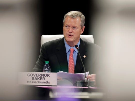 Massachusetts Gov. Charlie Baker speaks during the National Governors Association meeting, Friday, July 15, 2016, in Des Moines, Iowa. (AP Photo/Charlie Neibergall)
