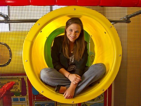 Erin Carr-Jordan in a fast-food restaurant (Chick-fil-A)