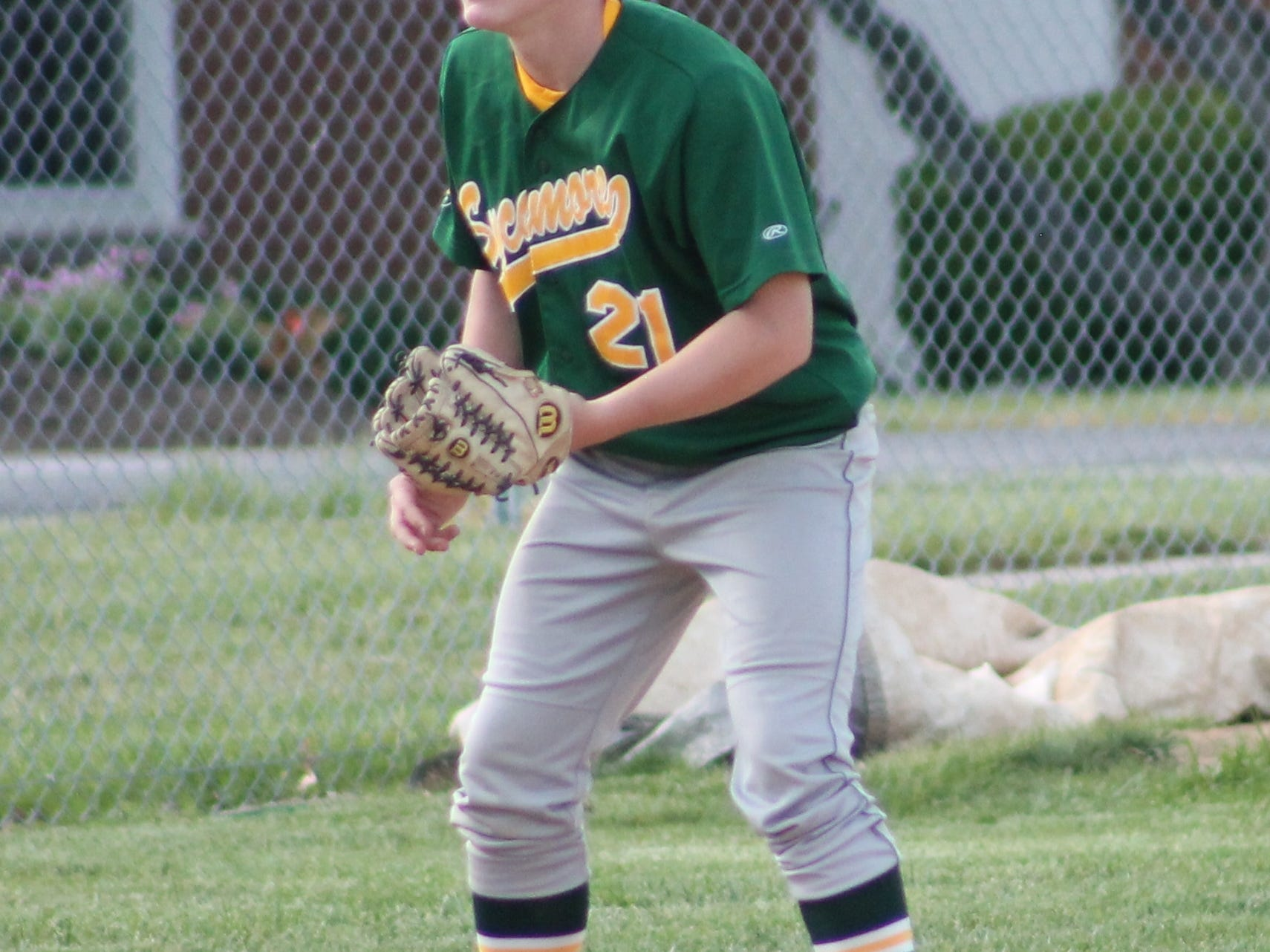 Sophomore third baseman Jake Borman is ready at the hot corner for the Aves against Anderson May 12.