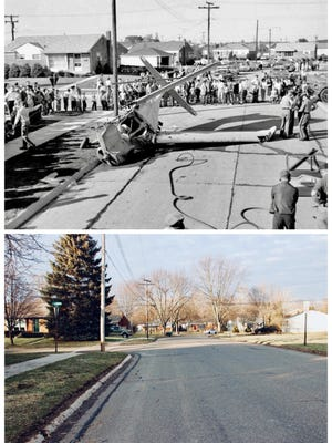 On Oct. 9, 1960, a single-engine plane carrying three people crash-landed at Prospect and Loomis in the Bel-Aire subdivision, just west of Farmington High, where the St. Leo football team was playing Our Lady of Sorrows. It crashed in the Mathiesons' front yard at 23680 Prospect, then skidded 100 feet. The right wing knocked a utility pole. The left wing hit 12-year-old Michael Wilson, who'd been riding his bike and had stopped to watch the plane circle. No one died, although all were injured. For full text of local newspaper coverage, visit preservationfarmington.org.