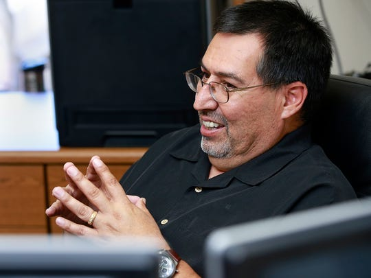 Mike Mestas, the new emergency management coordinator for the San Juan County Office of Emergency Management, talks about his job on Wednesday at his office in Aztec.
