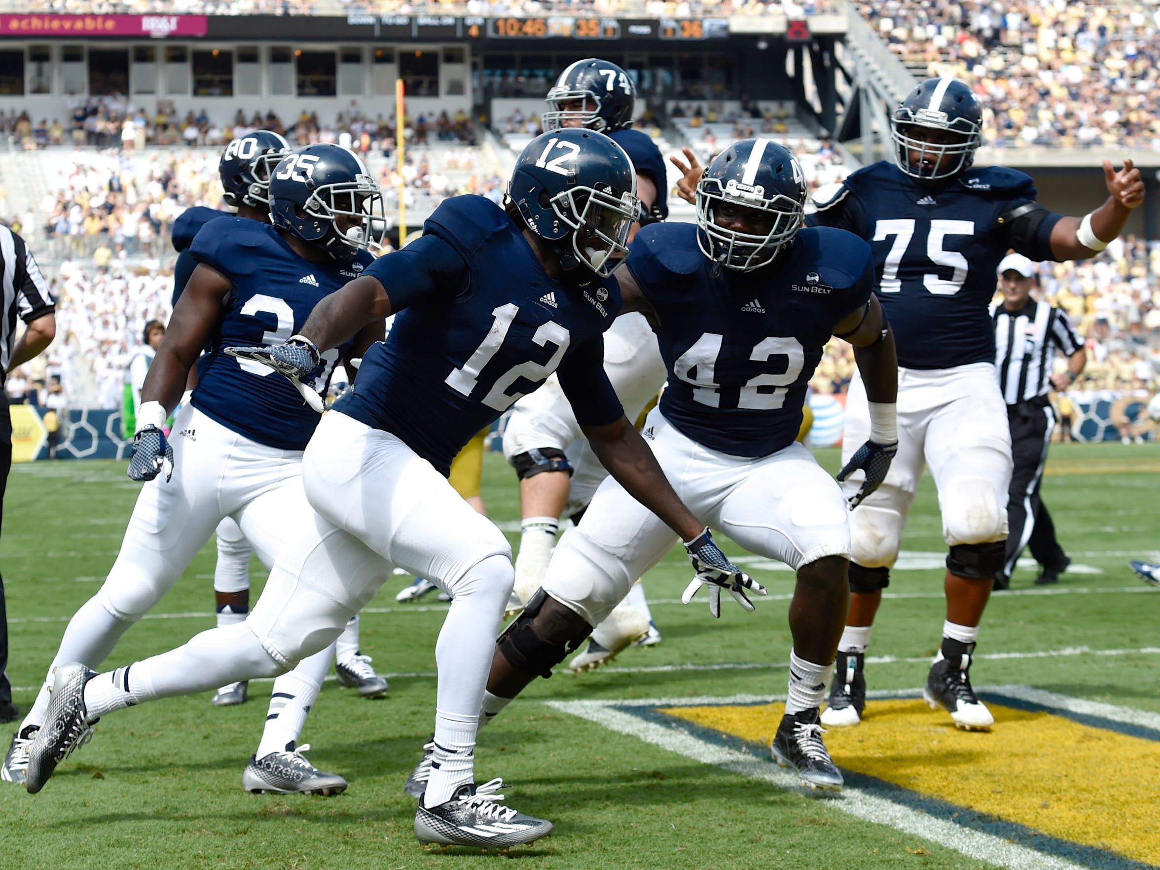 Georgia Southern Eagles wide receiver BJ Johnson (12) and his teammates have big plans for 2015.