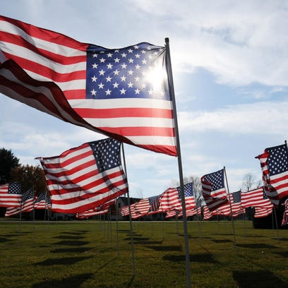 American flags wave