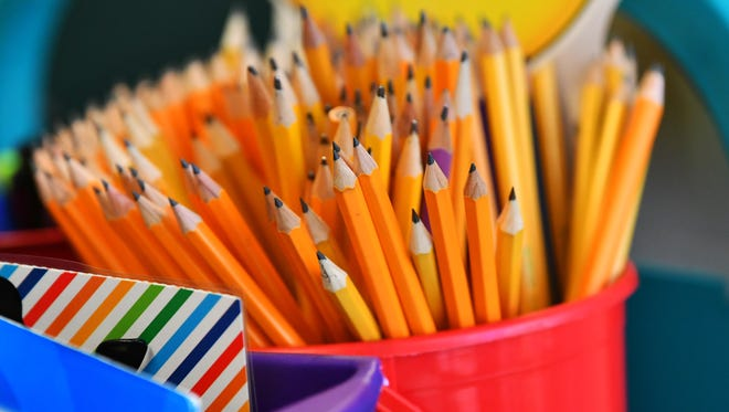 The pencils were ready for use for first graders in Alma Bell's class at Longleaf Elementary School in Melbourne on Thursday morning for the first day of the new school year.