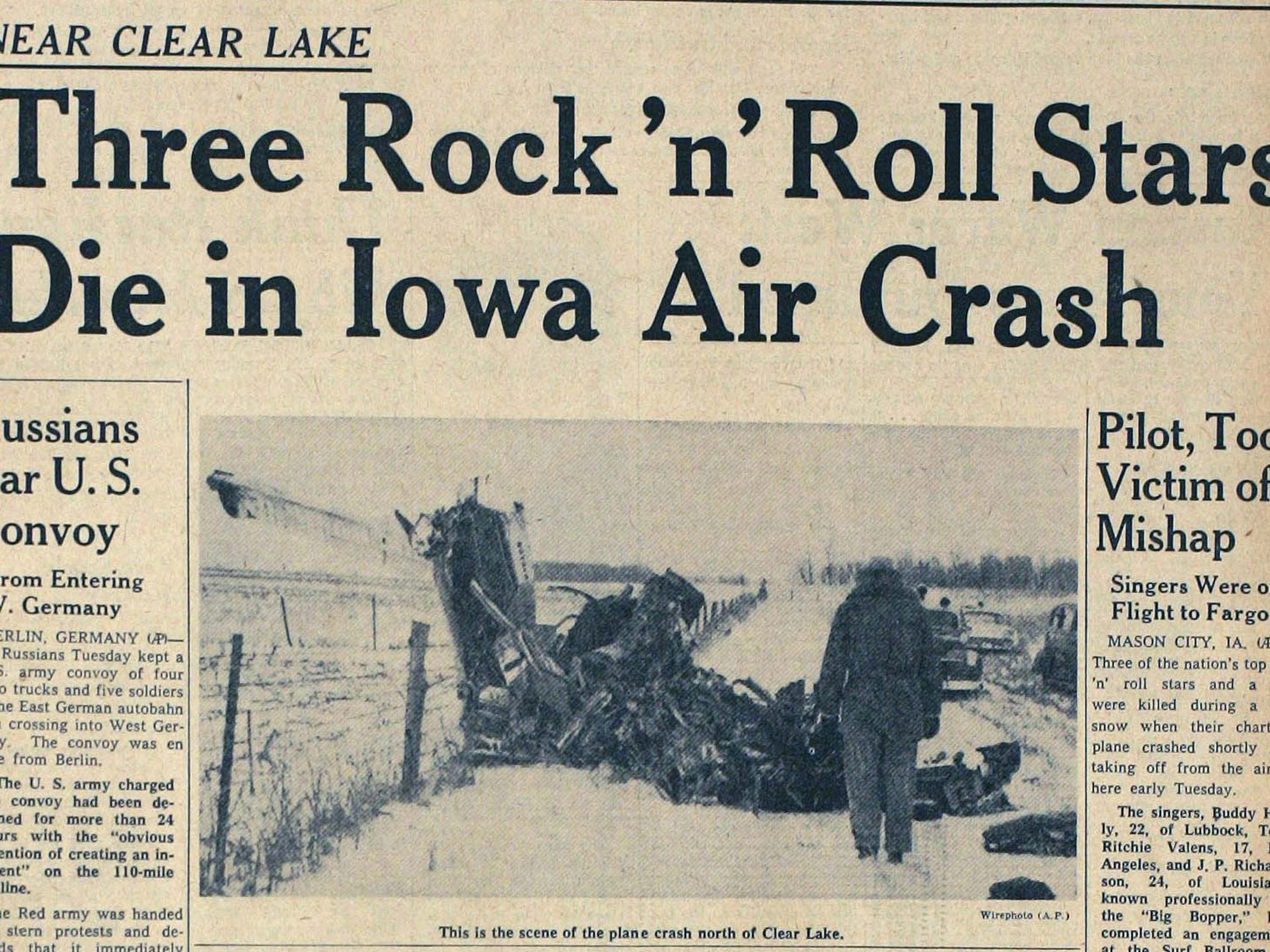 The Des Moines Tribune's front page from Feb 3, 1959, with coverage of the plane crash.
