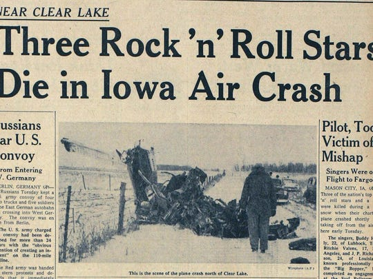 The Des Moines Tribune's front page from Feb 3, 1959,