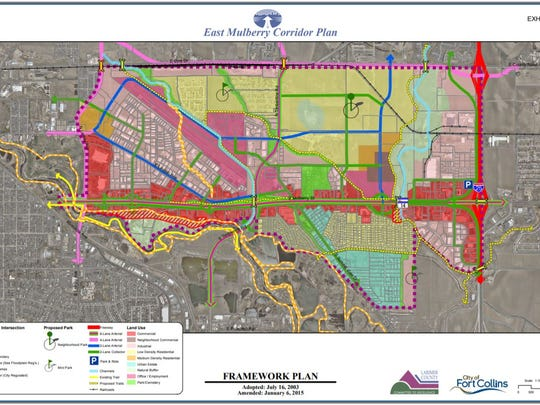 This map shows potential future land uses along the East Mulberry Street Corridor as envisioned in city plans.