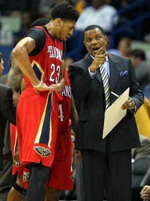 New Orleans Pelicans forward Anthony Davis (23) talks to head coach Alvin Gentry during a recent game.