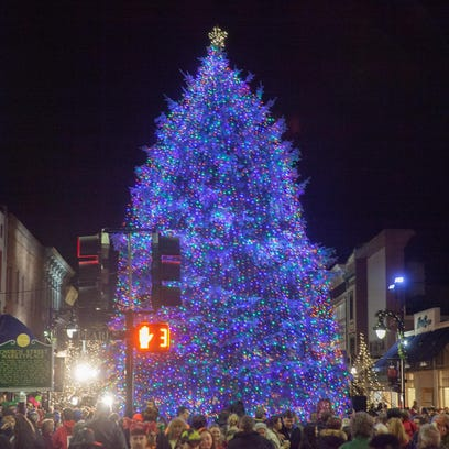 An employee at Barrett's Tree Service places lights on the Church Street Christmas tree on Nov. 25.