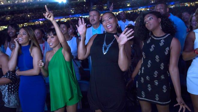 "Regina Hall (from left), Jada Pinkett Smith, Queen Latifah and Tiffany Haddish let loose in ""Girls Trip."""