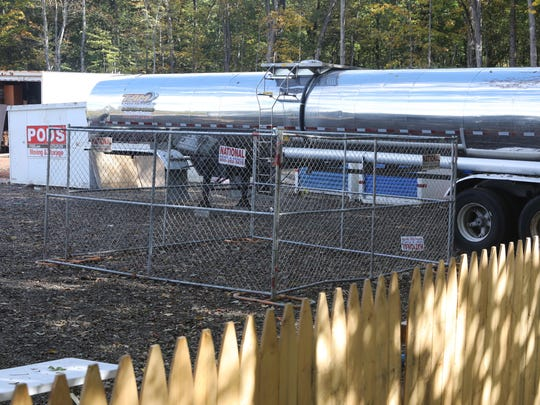 A water tanker in the rear yard of the Ateres Bais Yaakov Academy of Rockland at 200 Summit Park Road in New Hempstead, Oct. 10, 2017.
