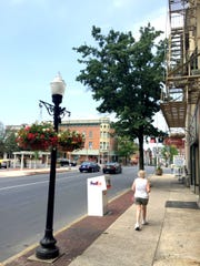 Downtown Lebanon will soon be brighter with the installation of Light Emitting Diode, or LED lights in many of the city-owned street lights in the downtown shopping district, like this one in the 900 block of Cumberland Street which already has one of the brighter bulbs installed as a test. Traditional street lights on Willow Street between Fourth and 10th streets will also be upgraded with LED lights by Met-Ed.