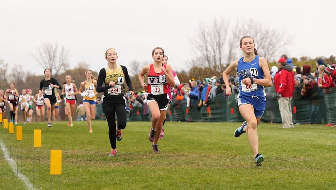 Sartell's Ingrid Buiceag-Arama has been to the state meet four times and she's only a sophomore. Here's her running in the 2017 state meet at St. Olaf College in Northfield.
