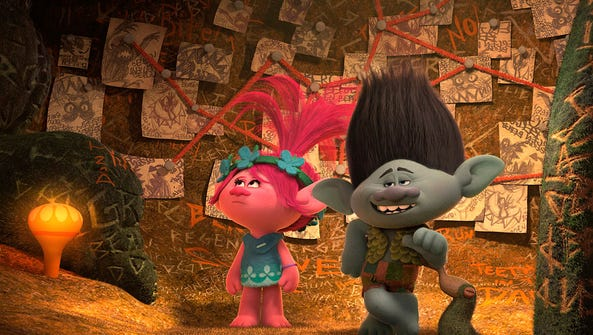 Anna Kendrick voices Poppy (left) and Justine Timberlake