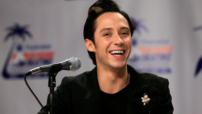 This Jan. 27, 2012 file photo shows Johnny Weir announcing his return to competitive skating at the U.S. Figure Skating Championships,  in San Jose, Calif. Weir has since retired from the sport.