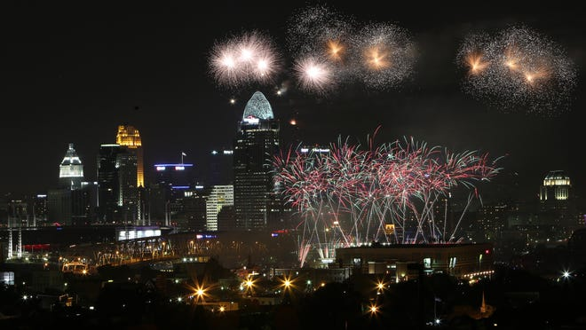 Last year's WEBN Fireworks explode over the Ohio River, photographed from Newport Catholic High School.