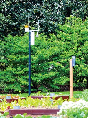The CoCoRaHS rain gauge in the First Lady's Kitchen Garden at the White House.