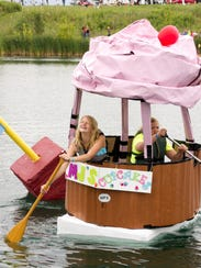 These youthful participants navigate their floating