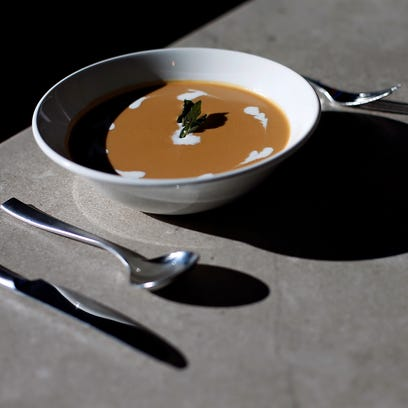 A pumpkin bisque soup prepared by The Order chef Zach