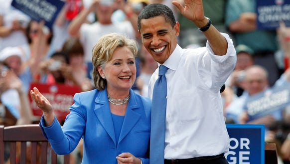 Barack Obama takes the stage with Hillary Clinton in