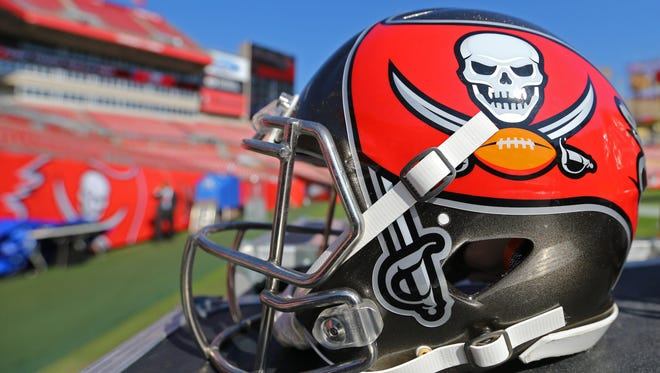 Nov 13, 2016; Tampa, FL, USA; A view of an official Tampa Bay Buccaneers helmet on the sidelines at Raymond James Stadium. The Buccaneers won 36-10. Mandatory Credit: Aaron Doster-USA TODAY Sports