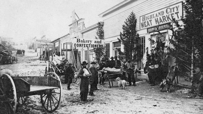 This Helena meat market on Bridge Street offered mostly wild game in 1869.