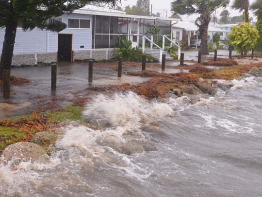 River Palms mobile home park on south Banana River Drive from rain and waves from the Banana River and Irma hits the Space Coast late Sunday afternoon. Photo by Malcolm Denemark