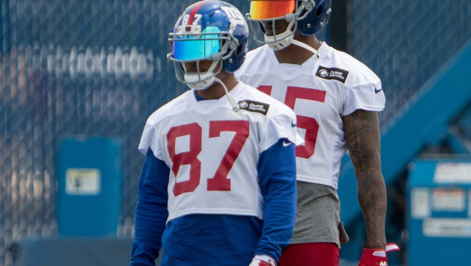 Jun 13, 2017; East Rutherford, NJ, USA;New York Giants wide receiver Sterling Shepard (87) and New York Giants wide receiver Brandon Marshall (15) during mini camp at Quest Diagnostics Training Center. Mandatory Credit: William Hauser-USA TODAY Sports