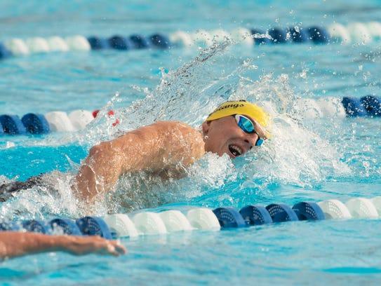 Merritt Island's Lucas Kravchenko swims the 200 yard