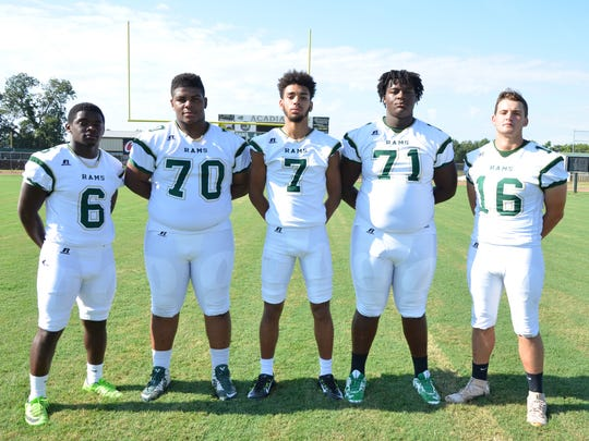Acadiana's offensive lineup includes (from left) Ziggy Francis, Damien Handy, Jaylon Borel, D'Quanis Robertson and Hunter Tabb.