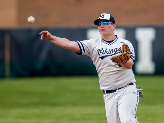 Marysville's  Jake Linarski throws to home plate during