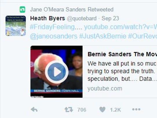 A screenshot of Jane Sanders'  retweet of one of the