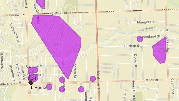 Several hundred homes are without power Wednesday across Livonia.
