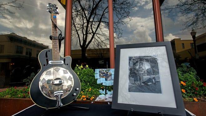 A memorial to Maurice Sorrell sits at Palafox PL. and Romana St. Saturday, February 17, 2018 during the Maurice Sorrell Sidewalk Memorial. Sorrell was a beloved street musician who passed away last Monday at the age of 61.
