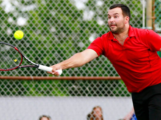 Three-time York City-County Men's Open Singles champion Phil Myers, seen here in a file photo, will compete in the Mixed Doubles Charity Classic this weekend at the Country Club of York.