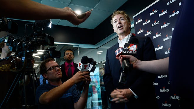Republican presidential candidate Sen. Rand Paul, R-Ky., speaks to the media, Aug. 29, after a rally at Alder Home Security in Orem, Utah.
