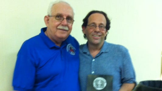 Journal News reporter Steve Lieberman (right) with John Kryger, chairman of the Rockland County Illegal Housing Task Force.